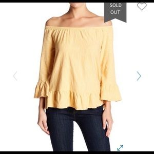 Yellow Sanctuary off the shoulders top